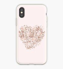 Rose Gold Glam Confetti Heart iPhone Case