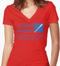 United Airlines Parody Women's Fitted V-Neck T-Shirt