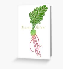 Earth Alien Watermelon Radish Greeting Card