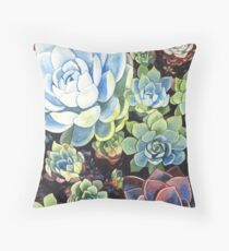 Succulent Field (watercolor) Throw Pillow