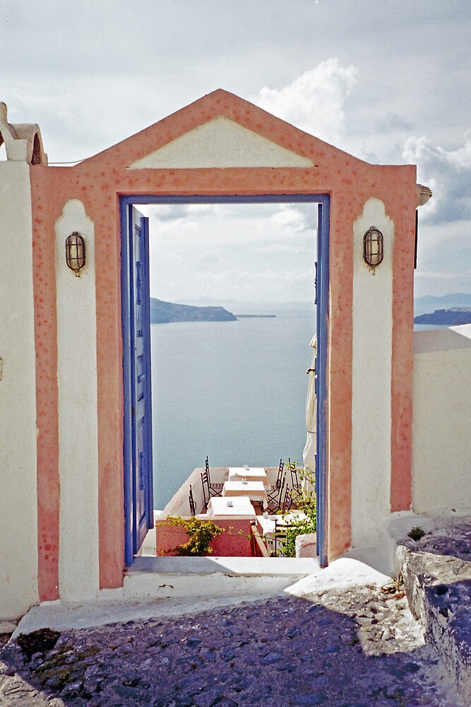 Doorway to the Caldera, Santorini by Leigh Penfold