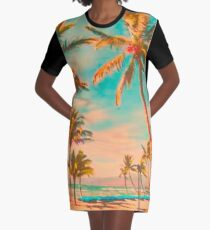 Vintage Hawaiian Beach Scene, Teal Graphic T-Shirt Dress