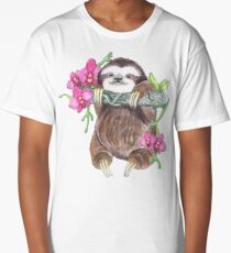 Happy Sloth with orchids Long T-Shirt