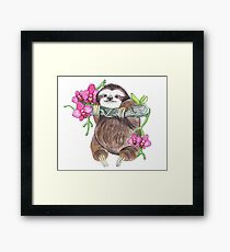 Happy Sloth with orchids Framed Print