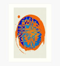 Blue and Orange Abstract Art Print