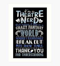 Lámina artística Regalo divertido del empollón del teatro para los amantes del teatro