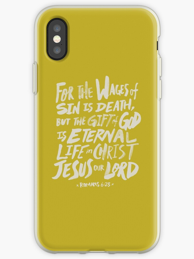 on sale fb25a 0ff6d 'Romans 6: 23 x Mustard' iPhone Case by theanointedhome