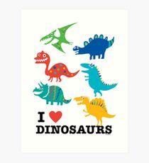 Ich liebe Dinosaurier Kunstdruck
