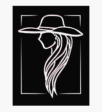 Joanne - Lady Gaga Pink Hat illustration Photographic Print