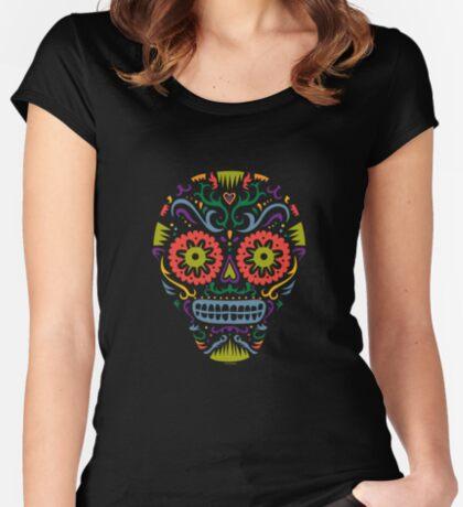 Sugar Skull SF multi 2 - on white Women's Fitted Scoop T-Shirt