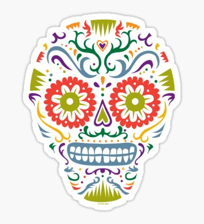 Sugar Skull SF multi 2 - on white Sticker