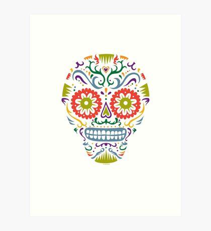 Sugar Skull SF multi 2 - on white Art Print