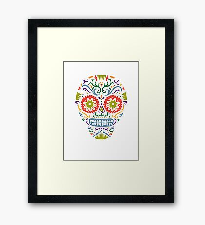 Sugar Skull SF multi 2 - on white Framed Print