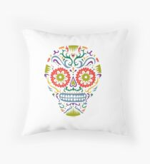Sugar Skull SF multi 2 - on white Throw Pillow
