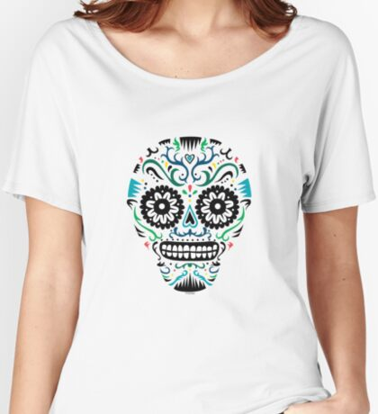 Sugar Skull SF multi om white Women's Relaxed Fit T-Shirt