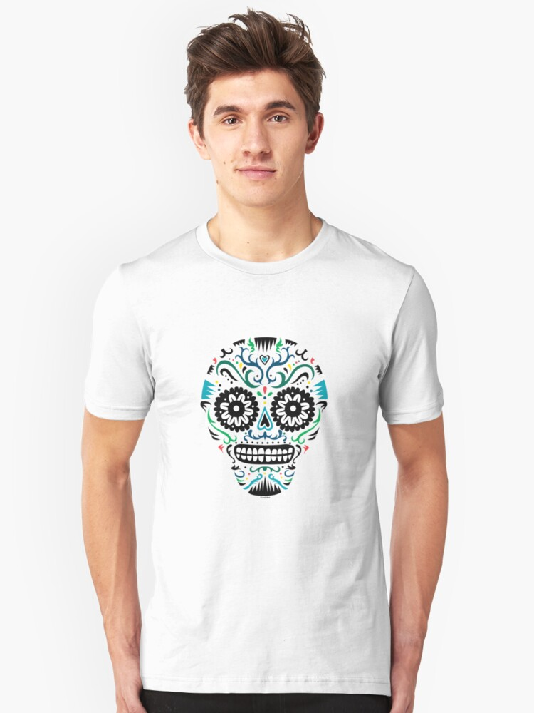 Sugar Skull SF multi om white Unisex T-Shirt Front