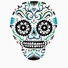 Sugar Skull SF multi om white by Andi Bird