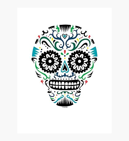 Sugar Skull SF multi om white Photographic Print