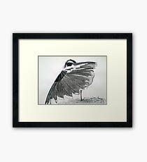 The Hidden Magpie Print Oriental Zen Minimalism - Sumie black ink bird feathers Framed Print