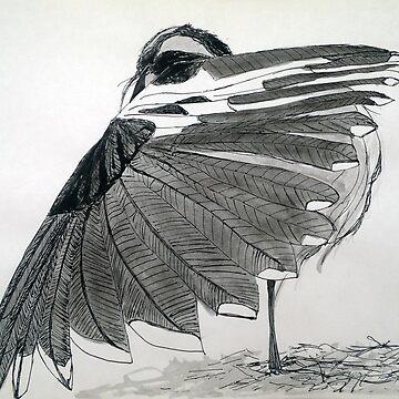 The Hidden Magpie Print Oriental Zen Minimalism - Sumie, ink, nature, feather, black, white, gray, animals, outdoors, wildlife, minimal, abstract, zen, meditative by arteivanna