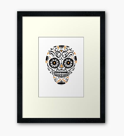Sugar Skull SF -  on white Framed Print