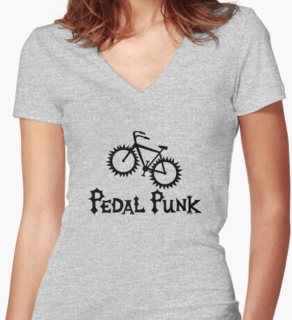 Pedal Punk  Women's Fitted V-Neck T-Shirt