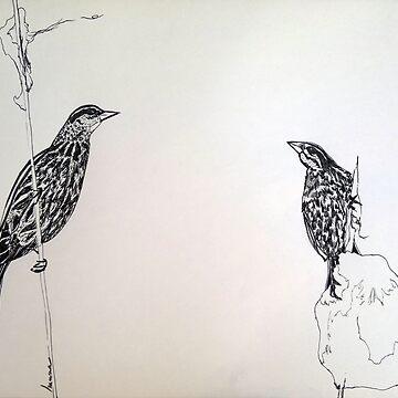 Red winged Black Bird Couple Print Oriental Zen Minimalist - Sumie ink birds, nature, feather, white, gray, animals, outdoors, wildlife, minimal, abstract, zen, meditative, birds on the branch, tree by arteivanna