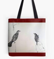 Red winged Black Bird Couple Print Oriental Zen Minimalist - Sumie ink birds Tote Bag