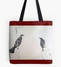 Red winged Black Bird Couple Print Oriental Zen Minimalist - Sumie ink birds Tote Bag