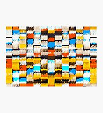 square pattern graffiti abstract in yellow brown red blue orange Photographic Print