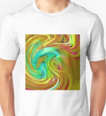 psychedelic graffiti painting abstract in yellow blue pink green T-Shirt