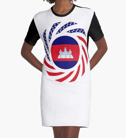 Cambodian American Multinational Patriot Flag Graphic T-Shirt Dress