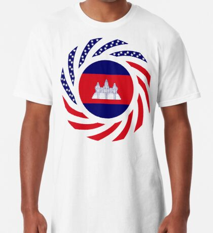 Cambodian American Multinational Patriot Flag Long T-Shirt