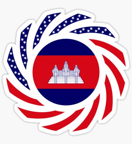 Cambodian American Multinational Patriot Flag Glossy Sticker