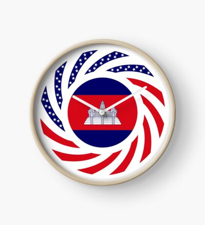 Cambodian American Multinational Patriot Flag Clock