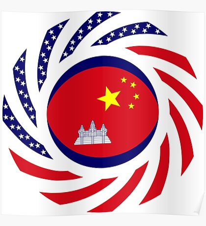 Chinese/Cambodian American Multinational Patriot Flag Series Poster