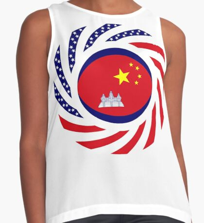 Chinese/Cambodian American Multinational Patriot Flag Series Sleeveless Top
