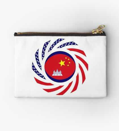 Chinese/Cambodian American Multinational Patriot Flag Series Zipper Pouch