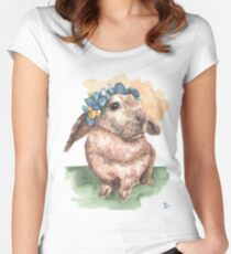 Floral Crown Bunny  Women's Fitted Scoop T-Shirt