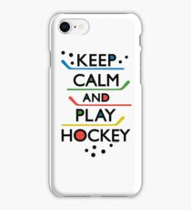 Keep Calm and Play Hockey - on white     iPhone Case/Skin