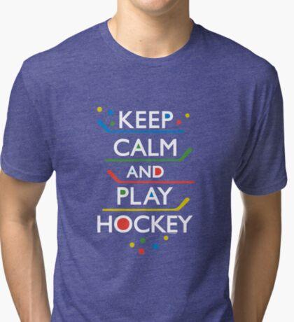 Keep Calm and Play Hockey - on dark   Tri-blend T-Shirt