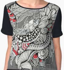 hand drawn fine line black and red fantasy   Chiffon Top