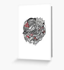 hand drawn fine line black and red fantasy   Greeting Card
