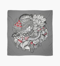 hand drawn fine line black and red fantasy   Scarf