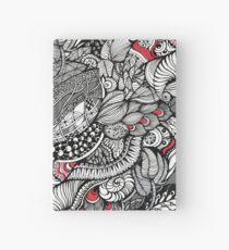 hand drawn fine line black and red fantasy   Hardcover Journal