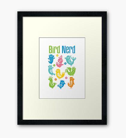 Bird Nerd - white Framed Print