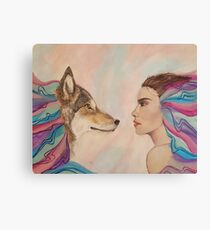 wolf and girl Canvas Print