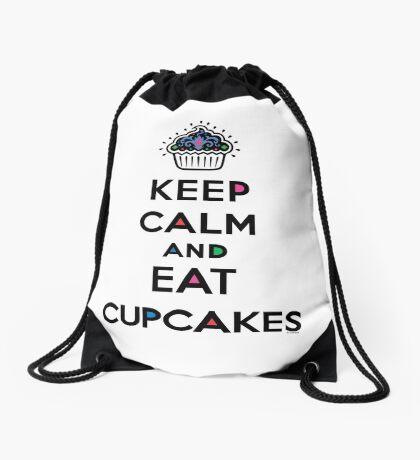 Keep Calm and Eat Cupcakes 6 Drawstring Bag