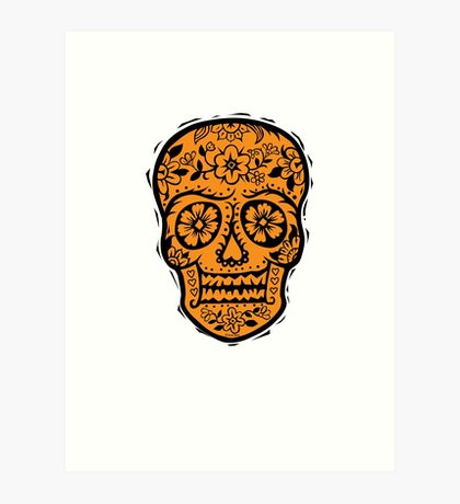 Sugar Skull SF Halloween on blk Art Print