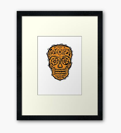 Sugar Skull SF Halloween on blk Framed Print